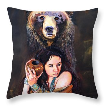 Nine Stars Woman - Bear Medicine Throw Pillow
