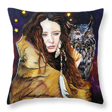 Nine Stars Woman / Owl Medicine Throw Pillow