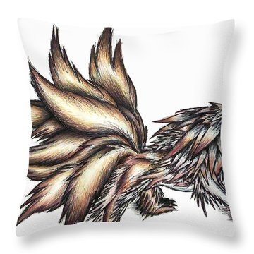Throw Pillow featuring the painting Nine Tails Wolf Demon by Shawn Dall