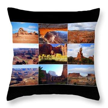 Nine Utah Landmarks Throw Pillow