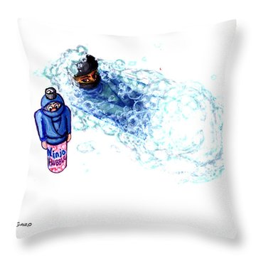 Ninja Stealth Disappears Into Bubble Bath Throw Pillow by Del Gaizo
