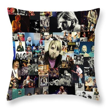 Nirvana Collage Throw Pillow by Taylan Apukovska