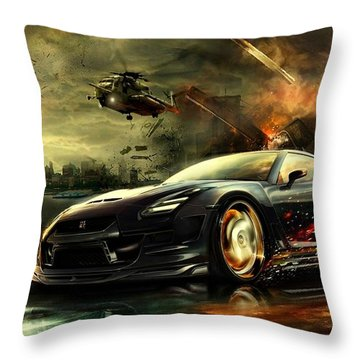 Nissan G T R Throw Pillow