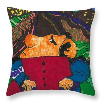 Throw Pillow featuring the drawing Nixon In China by Don Koester