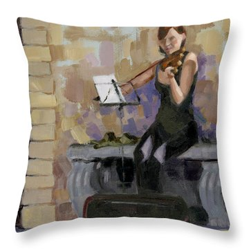 Throw Pillow featuring the painting Sold No. 2 Trio In Triptych by Nancy  Parsons