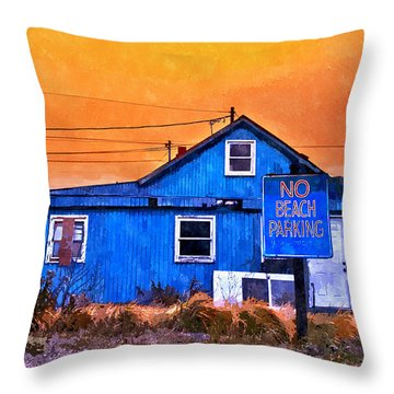 No Beach Parking Throw Pillow by Rick Mosher