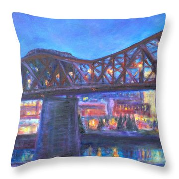 City At Night Downtown Evening Scene Original Contemporary Painting For Sale Throw Pillow