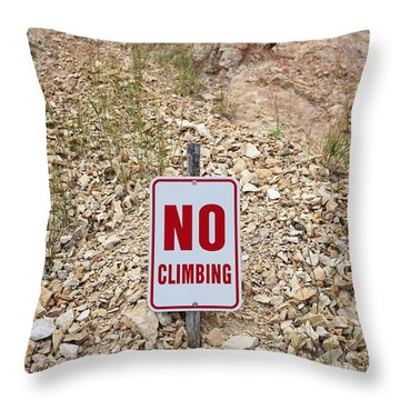 Throw Pillow featuring the photograph No Climbing Sign by Bryan Mullennix