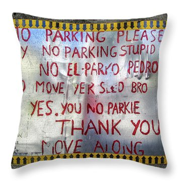 No El Parko Pedro Sign Throw Pillow