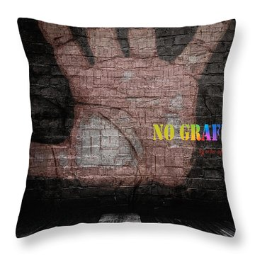 No Graffiti Throw Pillow by ISAW Gallery