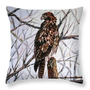 Throw Pillow featuring the painting No Hunting by Craig T Burgwardt