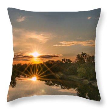 Mississippi Sunset Double Starburst Throw Pillow