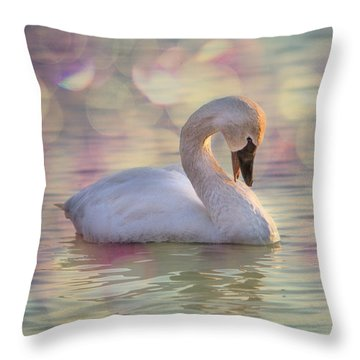 Throw Pillow featuring the photograph Shy Swan by Patti Deters