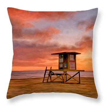 No Lifeguard On Duty At The Wedge Throw Pillow