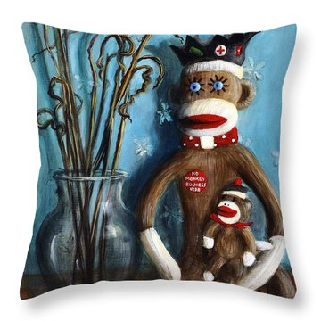 No Monkey Business Here 1 Throw Pillow