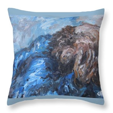 Throw Pillow featuring the painting No More by Cheryl Pettigrew