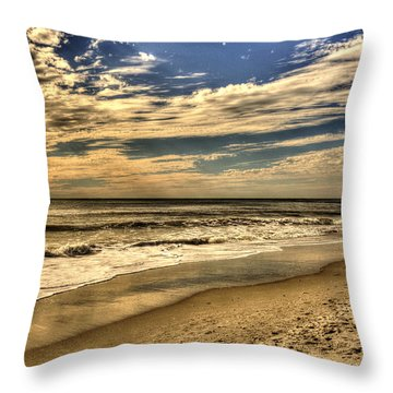 Throw Pillow featuring the photograph No More Surfing Today by Julis Simo