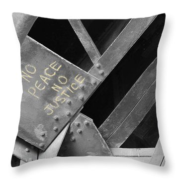 Throw Pillow featuring the photograph No Peace No Justice by Patricia Babbitt