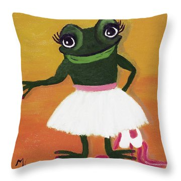 No Shoes For Me Please Throw Pillow by Margaret Harmon