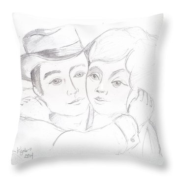 Throw Pillow featuring the drawing No Time For Goodbyes by John Keaton