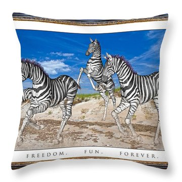 No Zoo Zebras Throw Pillow