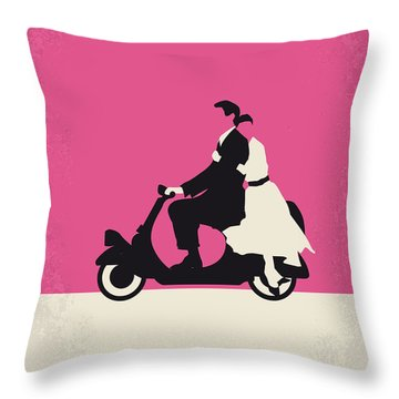 No205 My Roman Holiday Minimal Movie Poster Throw Pillow by Chungkong Art