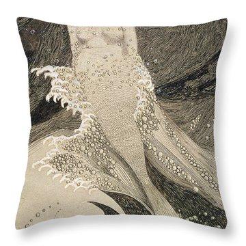 The Mermaid Throw Pillow by Sidney Herbert Sime