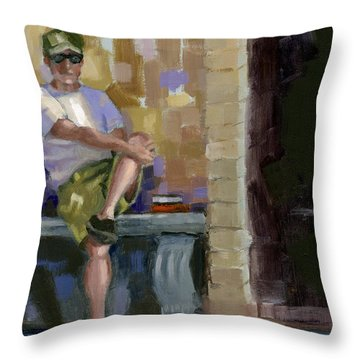 Throw Pillow featuring the painting Sold No.3 Trio In Triptych by Nancy  Parsons