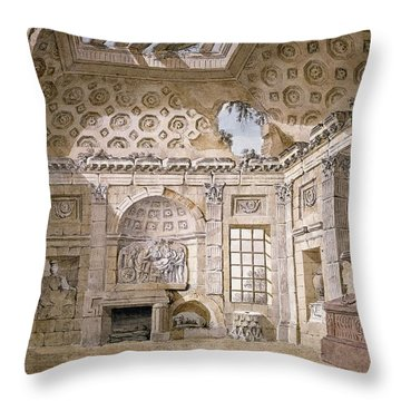 Monastery Of St Trinita Del Monte Throw Pillow by Charles Louis Clerisseau
