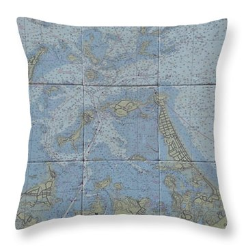 Noaa Chart Of Boston Harbor  Throw Pillow