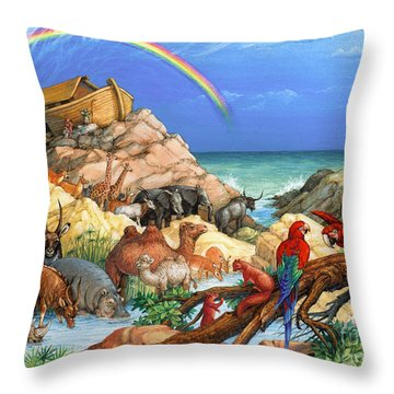 Noah And The Ark Throw Pillow