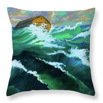 Noah's Ark Throw Pillow by Karon Melillo DeVega