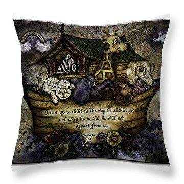 Noah's Ark Throw Pillow by La Rae  Roberts