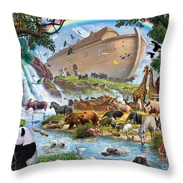 Noahs Ark - The Homecoming Throw Pillow by Steve Crisp