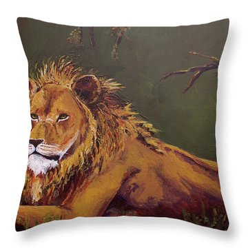 Noble Guardian - Lion Throw Pillow