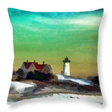 Nobska Lighhouse In Winter Throw Pillow