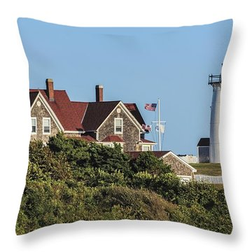 Nobska Lighthouse Woods Hole Cape Cod Ma Throw Pillow by Marianne Campolongo