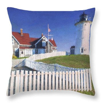 Nobska Point Lighthouse Throw Pillow by Jean-Pierre Ducondi