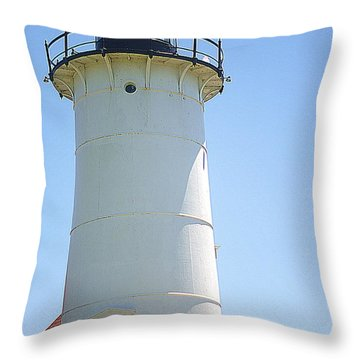 Throw Pillow featuring the photograph Nobska Point Lighthouse Ma by Suzanne Powers