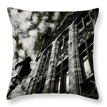 Noir Moment In Brugges Throw Pillow