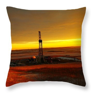 Nomac Drilling Keene North Dakota Throw Pillow by Jeff Swan