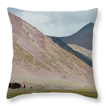 Nomad Camp In Tibet Throw Pillow