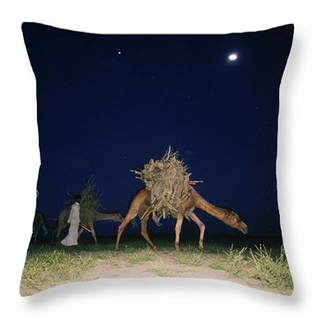 Nomads And Camels Throw Pillow