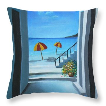 Noon At The Beach Throw Pillow