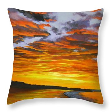 Throw Pillow featuring the painting Noosa Sunset by Chris Hobel
