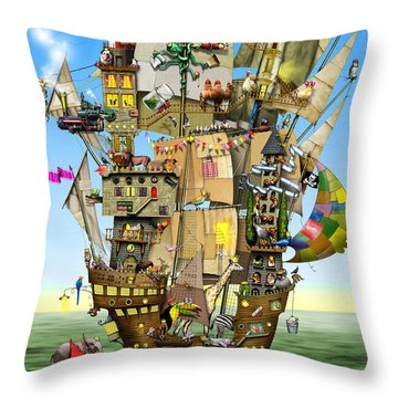 Norah's Ark Throw Pillow by Colin Thompson