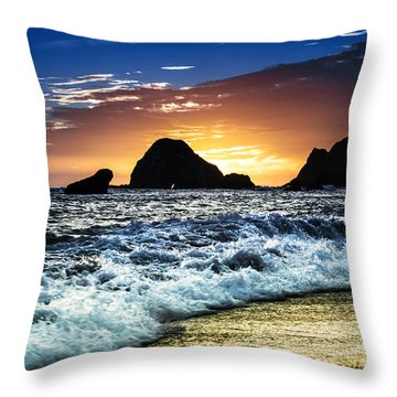 Norcal Sunset On Jenner Beach Throw Pillow
