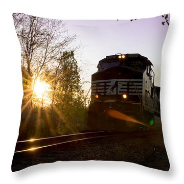 Norfolk And Southern At Sunset Throw Pillow