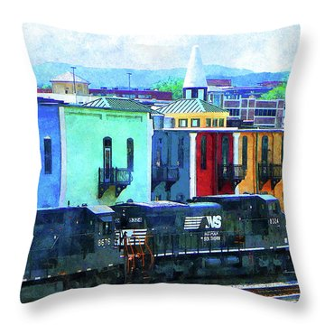 Norfolk Southern 8324 And 8676 Locomotives Throw Pillow