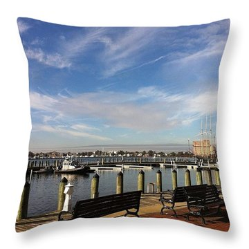 Norfolk Waterfront Throw Pillow